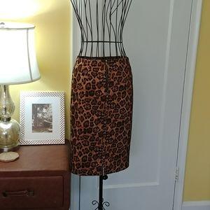 Forever 21 Cheetah Print Pencil Skirt Medium